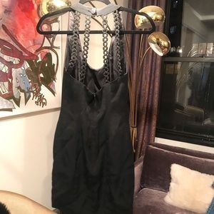 Nicole Miller 90's little black dress v neck